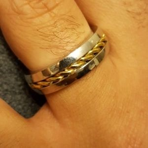 Other - Men's silver/gold toned fashion ring